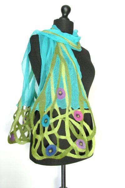 Sjaal chiffonzijde 'Marianne' turquoise
