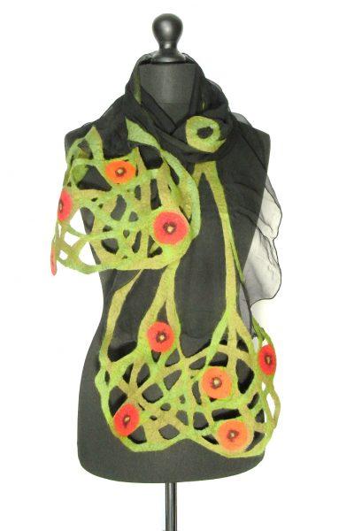 Sjaal chiffonzijde 'Marianne' zwartgroen
