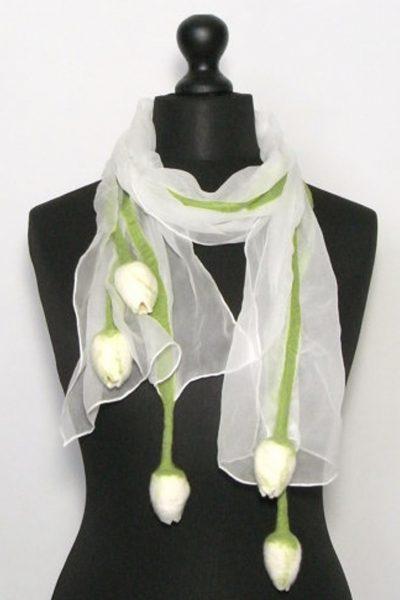 Tulpensjaal chiffonzijde wit