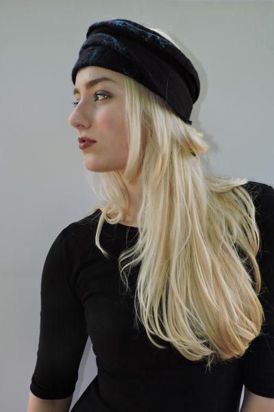 Hoofdband in zwart en turquoise