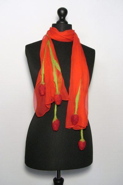 Tulpensjaal chiffonzijde rood