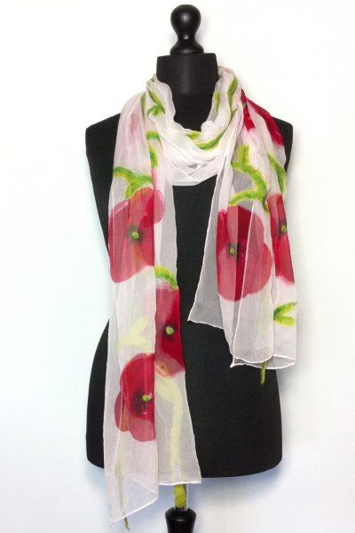Chiffonzijden sjaal met rode bloemen 'London'